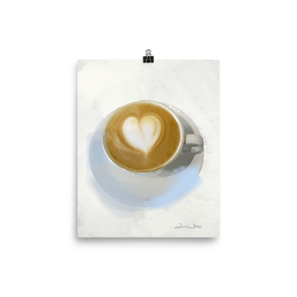 cappuccino art, coffee art, coffee heart art, coffee print